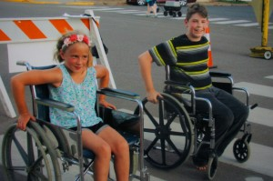 Wheel chair races down Main Street Centuria was a new event this year
