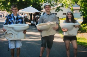 Helping set up the Memory Days toilet bowl relay was Jarett Malluege, Centuria's Grand Ambassador Anthony Connolly, and Centuria Ambassaor Payton Kelch. Helping with community activities is something both Ambassadors are excited about doing this year